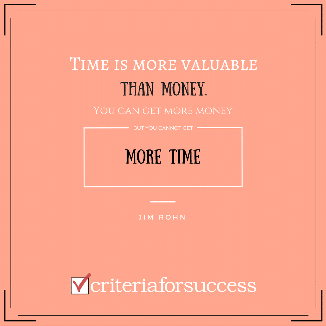 Time is more valuablethan money.You can get more money, but you cannotget more time.