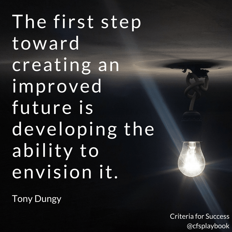 The first step toward creating an improved future is developing the ability to envision it. - Tony Dungy