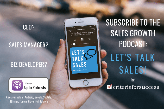 Listen and Subscribe to the Let's Talk Sales Podcast! Available on Apple Podcasts